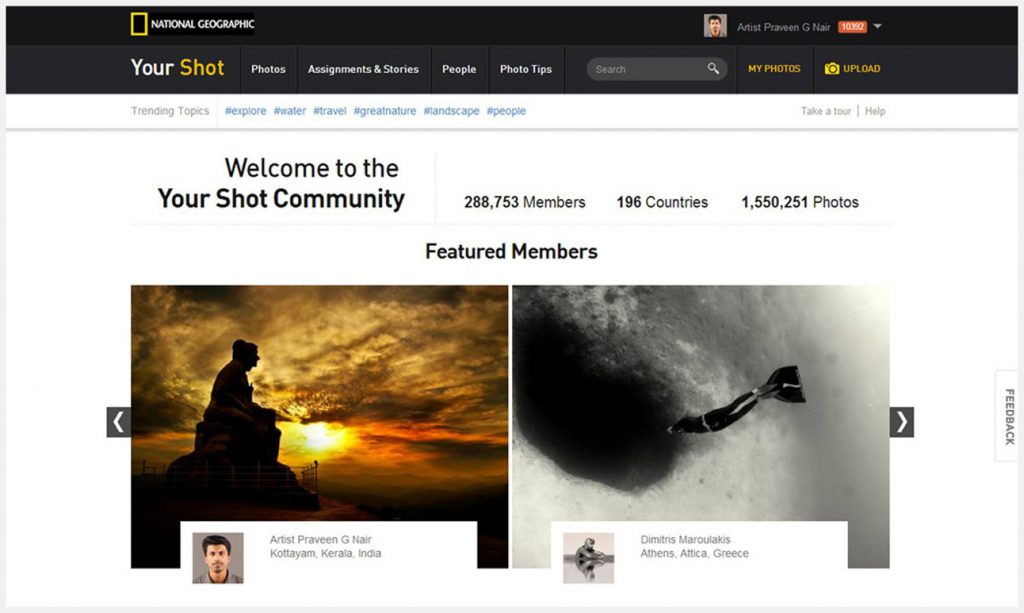National geography selected for their Featured Photography Member for YourShot Community.